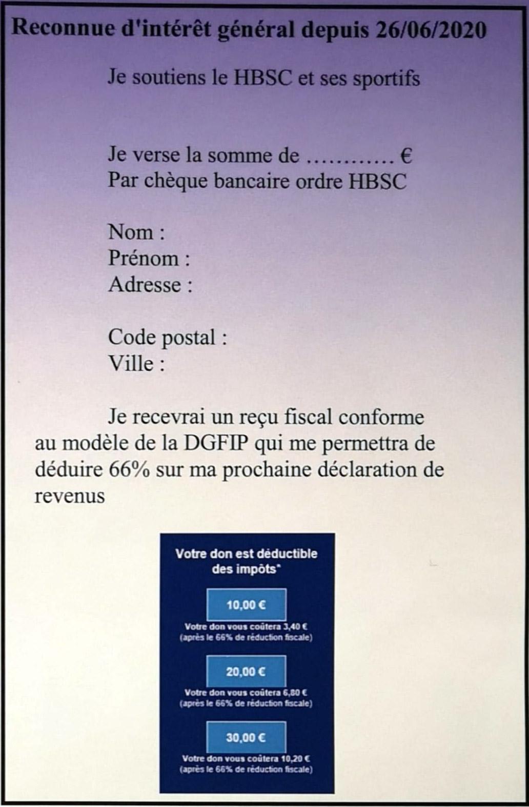 HBSC - reçu fiscal
